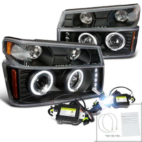Colorado Canyon Black Halo Projector Headlights+Corner Lamps+H1 6000K HID
