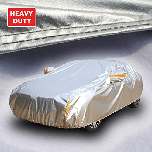 Tecoom Heavy Duty Multiple Layers Car Cover All Weather Waterproof Windproof Reflective Snow Sun Rain UV Protective Outdoor with Buckles and Belt Fit Sedan 170'-190' Length