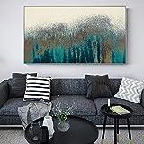 YuanMinglu Arte Abstracto de la Pared de la Turquesa Pintura de la Lona de la Vendimia en la Pared Cartel Abstracto Moderno Decorativo Pintura sin marco40x80cm