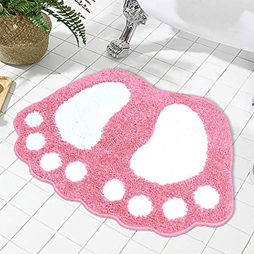 Non-slip badmat grote voeten badkamer met douche tapijt absorberend, mat, katoen microfiber,Pink,40 * 60cm