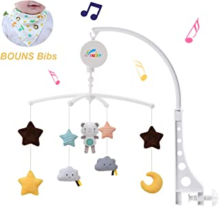 Baby Musical Crib Mobile with Hanging Rotating Toys,Infant Bed Decoration for Newborn Boys and Girls(with Bibs)