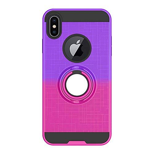 FAWUMAN Coque pour iPhone XS Max(6.5 inch),Anti-Glisse 3D en résille Boîtier PC + TPU Double Layer Housse résistant aux Chocs avec Support à Anneau Rotatif à 360 degrés (Rouge-Rose Pourpre)