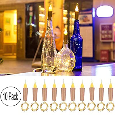 Upgraded 8 Pack Solar Powered Wine Bottle Lights, 20 LED Waterproof Colorful Copper Cork Shaped Lights for Wedding Christmas, Outdoor, Holiday, Garden, Patio Pathway Decor