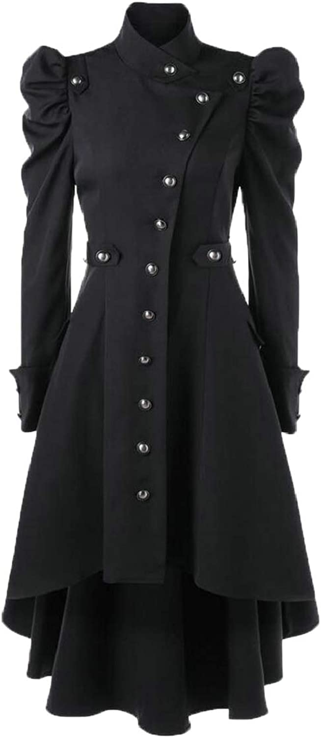TDCACA Womens Slim Fit Victorian Swallow Tail Thin Long Trench Coat Jacket