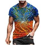 Yowablo Top T-Shirt Hommes D'été Décontracté Imprimé 3D Chemisier À Col Rond À Manches Courtes (XL,4Orange)
