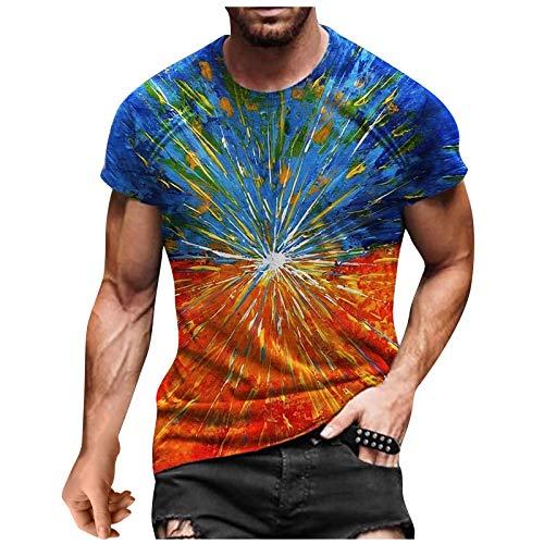 Top T-Shirt Herren Sommer Casual 3D-Bedruckte Kurzarm-Bluse mit rundem Hals (5XL,4Orange)