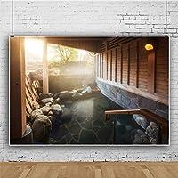 Qinunipoto ビニール 1.5x1m 日本風呂 写真の背景 写真布 和風 スタジオ ブース小道具 旅行する 休暇 写真 肖像画背景 晴れ 背景幕 商品/人物撮影 自宅 写真館