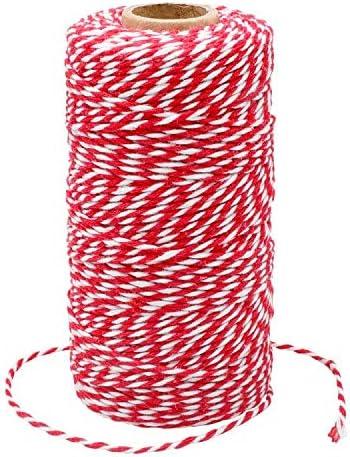 G2PLUS 100M Ficelle Rouge et Blanche Corde de Noël Rouge Ficelle de Noël Rouge Ficelle de Coton Durable pour la Cuiss...