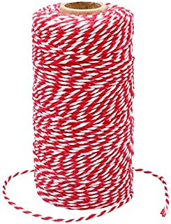 100M Rot und Weiß Baumwolle Schnur, Bäcker Bindfäden Bastelschnur Dekokordel Schnur Perfekt für DIY Kunstgewerbe Gartenarbeit