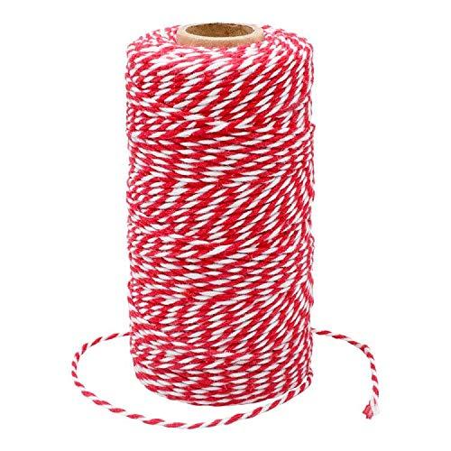 G2PLUS 100M Rot & Weiß Baumwolle Schnur, Bäcker Bindfäden Bastelschnur Dekokordel Schnur Ideal für DIY Kunstgewerbe Gartenarbeit
