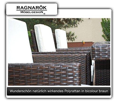 Ragnarök-Möbeldesign PolyRattan Essgruppe DEUTSCHE Marke - EIGNENE Produktion Tisch + 6 Stuhl & 4 Hocker - 8 Jahre GARANTIE - Garten Möbel incl. Glas und Sitzkissen braun Gartenmöbel - 6