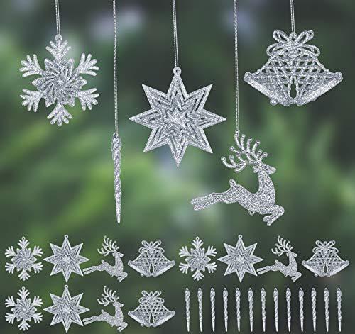 24 colgantes de árbol de Navidad, 3D, 5 estilos, plata, purpurina, árbol...