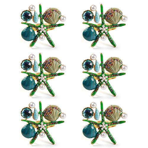QTKJ Set of 6 Home Metal Starfish Shell Ocean Series Napkin Rings Diamonds Crystal Pearl Napkin Buckles Holder for Wedding,Parties, Dinners, Christmas, Holidays Decor (Green)