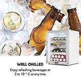 Klarstein Beersafe XL - Getränkekühlschrank, 60 Liter, C, 5 Kühlstufen: 3-10 °C, 42 dB, 2 flexible Metallböden, LED-Licht, Kühlschrank für Flaschen, Mini Bar, Edelstahl/weiß - 11