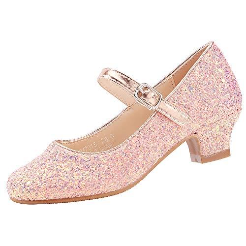 EIGHT KM Scarpe con Tacco Principessa Eleganti Lucente Comunione Cerimonia Ballerine Bambina Tacchi Ragazza EKM7015 Cinderella Rosa 36