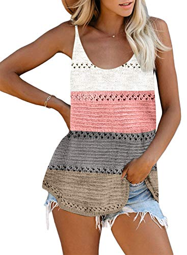 Biucly Women's Scoop Neck Tank Tops Knit Shirts Casual Loose Sleeveless Camis Sweater Blouses(S-2XL)