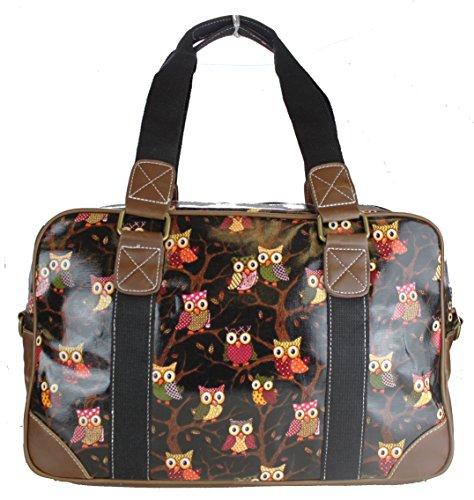 Miss Lulu Handtasche, Schultertasche, Damen, Eule, Schmetterling, Blumen, gepunktet, Wachstuch. Zum Reisen, über Nacht, Wochenende, Schultasche Gr. Large, Owl Black