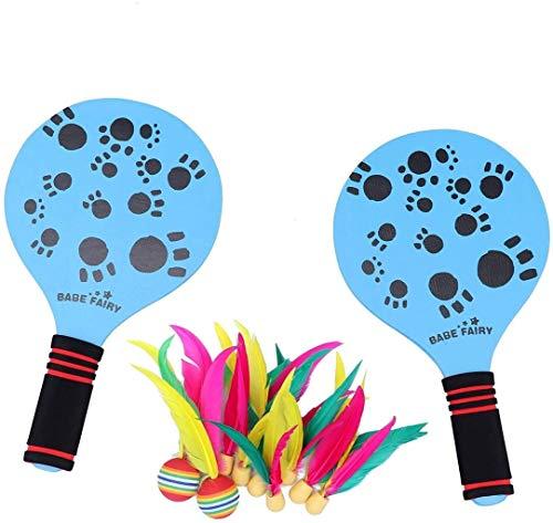 RENFEIYUAN Strand Paddel Badminton Schläger Cricket Ball Set Camping Ausrüstung Holz Shuttlecock Yard Rasen Spiel Outdoor Racquet Spiel Für Erwachsene Kinder (blau) Badminton Sets
