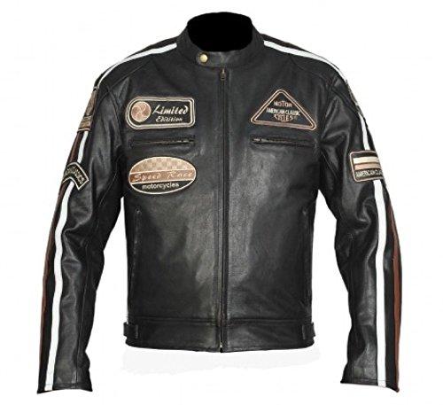 BOS Retro Racing Motorrad-Lederjacke - Motorradjacke XL, Schwarz