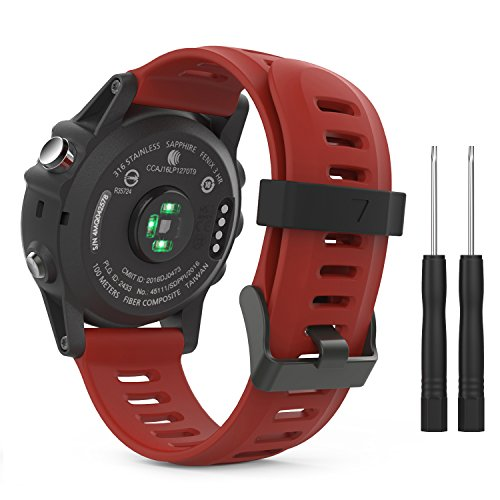 MoKo Pulsera Compatible con Garmin Fenix 3/3 HR/5X/5X Plus/D2 Delta PX/Tactix Bravo/Descent Mk1/Quatix 3, Correa de Silicona Respirable y Reemplazable, Banda de Reloj Deportivo - Rojo Oscuro