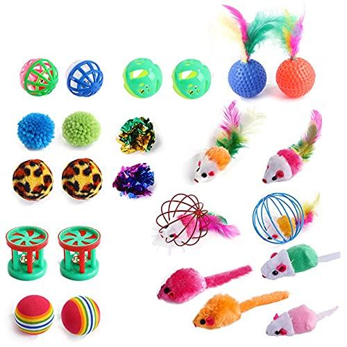 Katzenspielzeug Set, 24 Stück Katzen Interaktives Spielzeug, Katze Plüschspielzeug mit Spielzeugmäuse, Bälle, Federspielzeug, Jingle Bell, Variety Spielzeug Pack für Katze Kitty