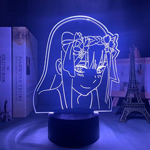 Lámpara de Ilusión 3d,Sailor Moon Anime 3d Lámpara Zero Two Figure Nightlight,Kids Child Girls Dormitorio Decoración Regalo Lámpara de luz nocturna Darling In The Franxx LED Night Lights