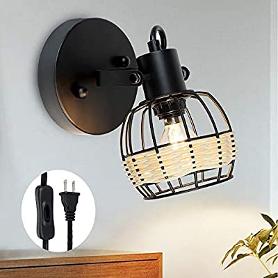 DLLT Vintage Track Ceiling Spotlight, Adjustable 1 Light Led track Lighting Kit Plug in, Industrial Small Wall Mount Lamp, Metal Caged Wall light fixture for Kitchen Island E12 Base(Bulb Not Included)