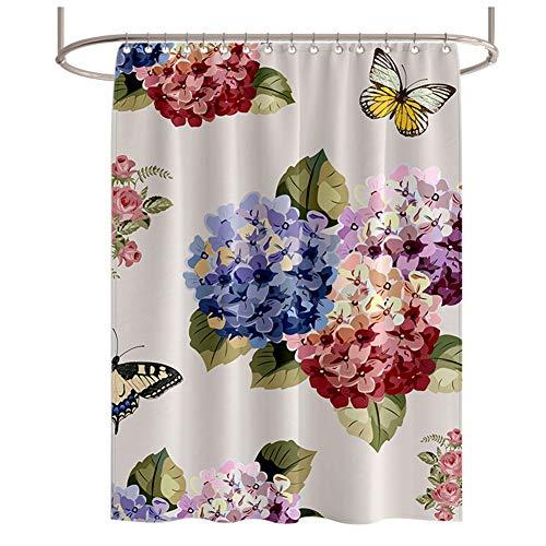 LCHY douchebak, schimmelbestendig, duurzaam, wasbaar, van polyester, voor badkamer, waterblokjes, 3D-bloemen, vlinderbadkamergordijn, ondoorzichtig