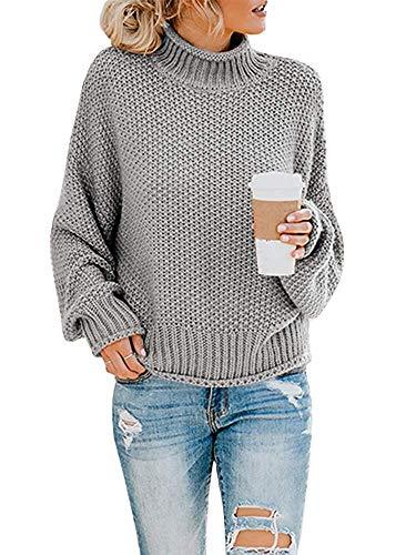 Yidarton Pullover Damen Elegant Winter Rollkragenpullover Strickpullover Grobstrickpullover Casual Lose Pulli Langarm Oberteile (3261-Grau, Large)