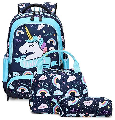 3 Pezzi Zaino Scuola Per Ragazze Unicorno Set Di Borse Leggere Con Custodia Per il Pranzo Astuccio Per Bambini Della Scuola Materna