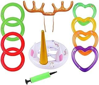 Toss Game,Sombrero de Asta de Navidad + Juguetes Inflables de Unicornio Blanco con 8 Pcs Anillos Coloridos y Una Bomba Manual de PVC Familia Niños Oficina Fiesta de Navidad Divertidos Juegos