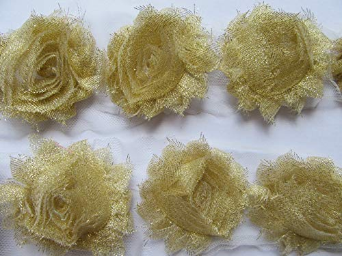 YYCRAFT 3 Yards(40PCS) Glitter Gold Shabby Chiffon Fabric Flowers 2.5' Shabby Rose Trim