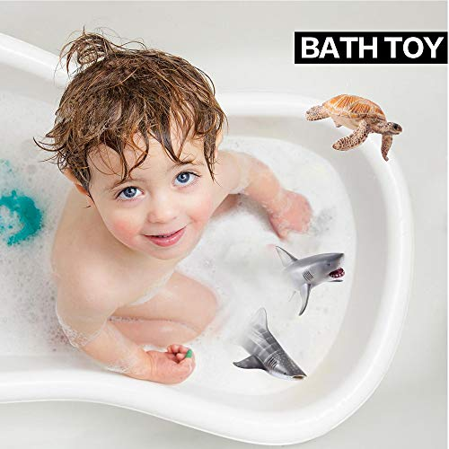 Sea Ocean Animals Figure Bath Toys Set,6 Piece Jumbo Sea Animals Toys,Realistic Wild Vinyl Pastic Animal Learning Party Favors Toys For Boys Girls Kids Toddlers Big Ocean Animals Toys Playset