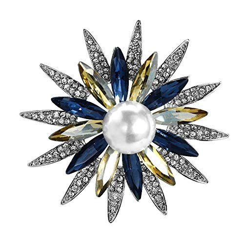 Mamfous Austrain Crystal Flower Brooch for Women with Simulated Pearl Bouquet Pins Jewelry Accessories (silver)