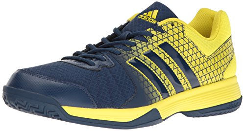 adidas Men's Ligra 4 Volleyball Shoes, Mystery Blue/Mystery Blue/Lemon Peel, (4.5 M US)