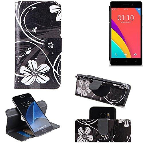 K-S-Trade® Schutzhülle Für Oppo R5s Hülle 360° Wallet Case Schutz Hülle ''Flowers'' Smartphone Flip Cover Flipstyle Tasche Handyhülle Schwarz-weiß 1x
