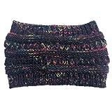 Q-XIAOKEAI Women Winter Knitted Beanie Ponytail Hat Colorful Crochet Ear Warmer Headband