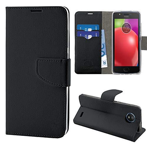 N NEWTOP Cover Compatibile per Motorola Moto E4, HQ Lateral Custodia Libro Flip Chiusura Magnetica Portafoglio Simil Pelle Stand (Nera)