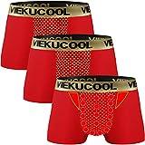 【トルマリン式 磁気パンツ】増大パンツ 機能性下着 3枚組 4サイズ レッド L(日本サイズS~M)