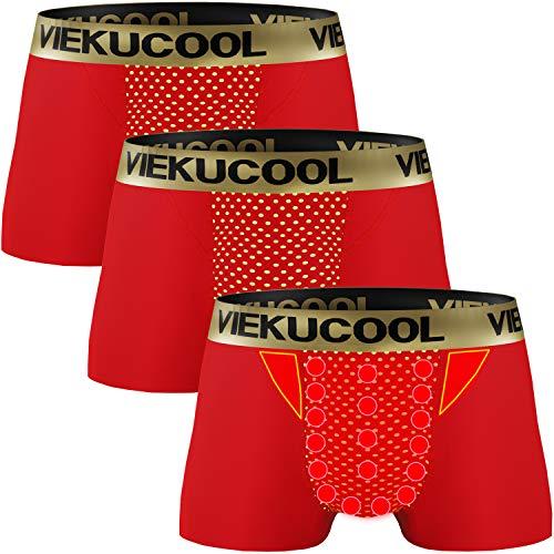 【トルマリン式 磁気パンツ】増大パンツ メンズパンツ下着 機能性下着 自信増大 3枚組 (レッド, 5L(日本サイズ3L))