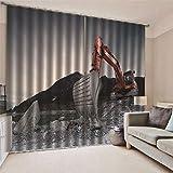 JRCURTAIN 3D Vorhang Blickdicht - Bagger Thermo Gardinen Kinder Wohnzimmer Schlafzimmer Vorhänge Dekoschals 2Er Set,183x214cm