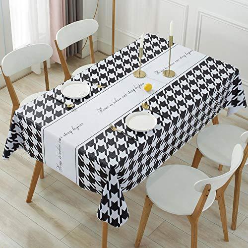 Yinaa Manteles Impermeable de Rectangular PVC Resistente Al Desgaste y Duradero Antimanchas Resistente a Líquidos Fácil de Limpiar Blanco y Negro 140×200cm