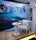 3D Printed Blackout Curtainsdigital Printing Design Distinctive Vertical Curtains, Blue Iceberg Printing Simple Stylish Eyelet Curtains Breathable Insulation ,For Living Room Bedroom Kid Room Castle