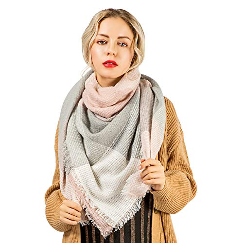 Women Oversized Blanket Scarf Plaid Chunky Tartan Shawl Fashion Wrap Lightweight Warm Soft Tassel Pink