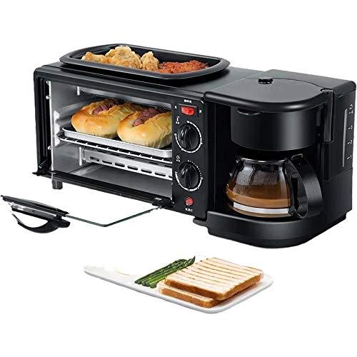 SMEJS Eléctrico 3 en 1 Desayuno Que Hace la máquina multifunción Goteo Cafetera de Hogares Pizza de Pan sartén Tostadora