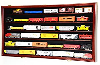 HO Scale Model Train Display Case Cabinet Wall Rack w/98% UV Protection- Lockable -Cherry