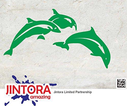 JINTORA Sticker/Car decal - Dolfijn Springen - 149x83mm - JDM/Die cut - Bus/window/laptop/coach/Truck Groen