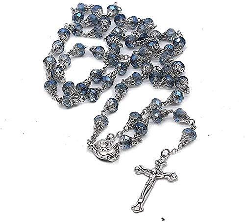 Yiffshunl Collar Mujer Collar 2020 Clásico 6Mm Cuentas de Vidrio Azul Cruz Borla Larga Collares Rosario católico religioso Collares y Colgantes Hechos a Mano Regalo de la joyería