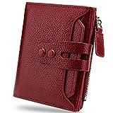 YALUXE Femme Portefeuille Blocage RFID Petit Porte Monnaie Mode Compact Cuir de Vachette Vin Rouge