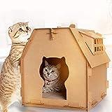 YUOKI Rascador de casa de gato de cartón, tablero de rasguño de gato de papel corrugado DIY casa de gato con ventana pequeña caja de cartón para mascotas